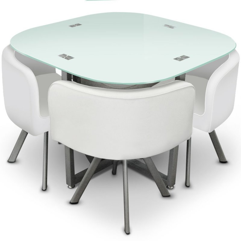 Table manger design et compacte mosaic 90 meuble et for Table pliante avec chaise encastrable