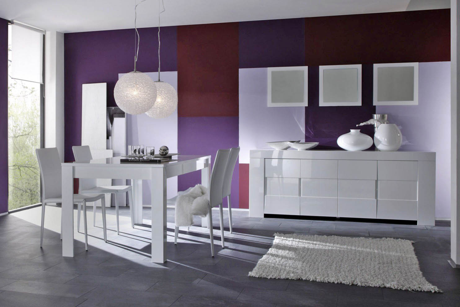 Salle manger meubl et design blanc meuble et - Meuble salle a manger laque blanc ...
