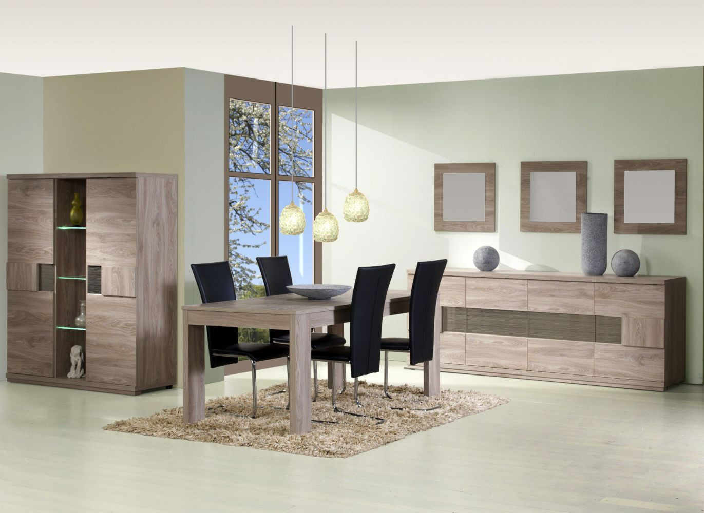 Salle a manger compl te conforama table carr e meuble et for Meuble sejour design contemporain