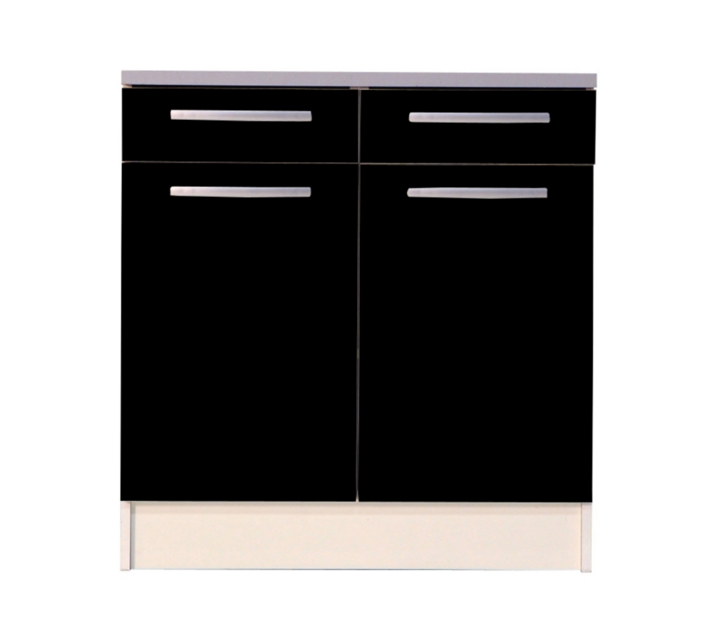 meuble bas de cuisine noir 80 cm 2 portes avec plan de. Black Bedroom Furniture Sets. Home Design Ideas