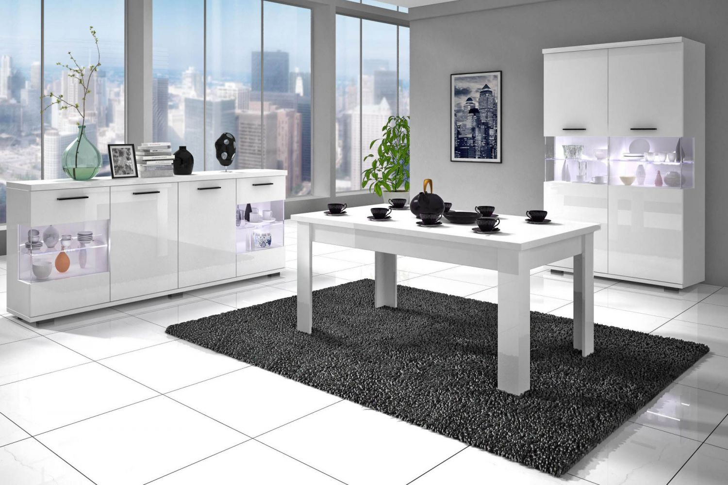 salle manger meubl et design blanc meuble et. Black Bedroom Furniture Sets. Home Design Ideas