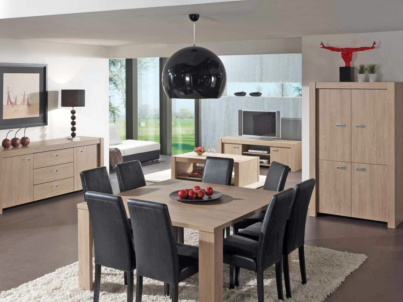 Salle a manger compl te conforama table carr e meuble et for Table de salle a manger carree design