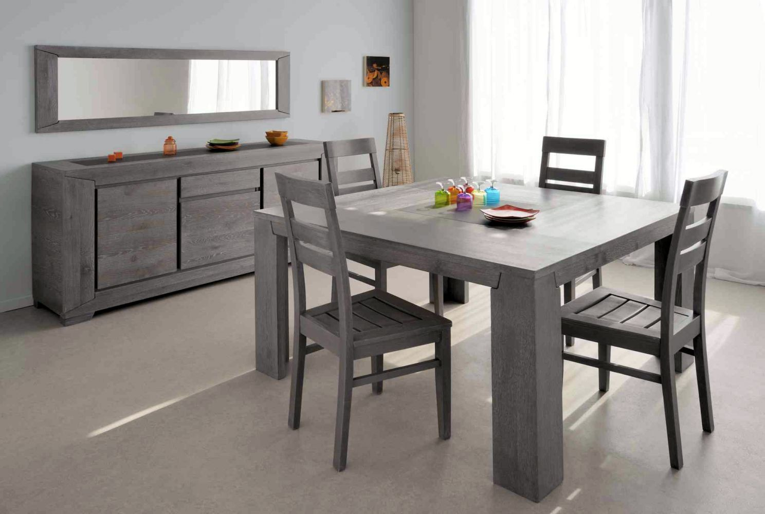 Salle a manger compl te conforama table carr e meuble et for Conforama table manger