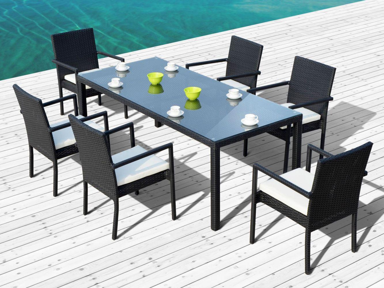 ensemble table avec chaises de jardin en r sine noire atlas meuble et d coration marseille. Black Bedroom Furniture Sets. Home Design Ideas