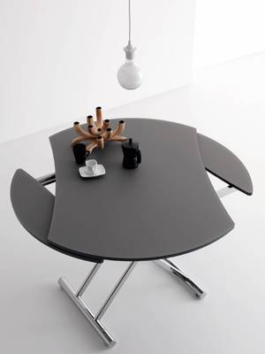 Table basse transformable en table ronde par cuir design for Table de salon pliable