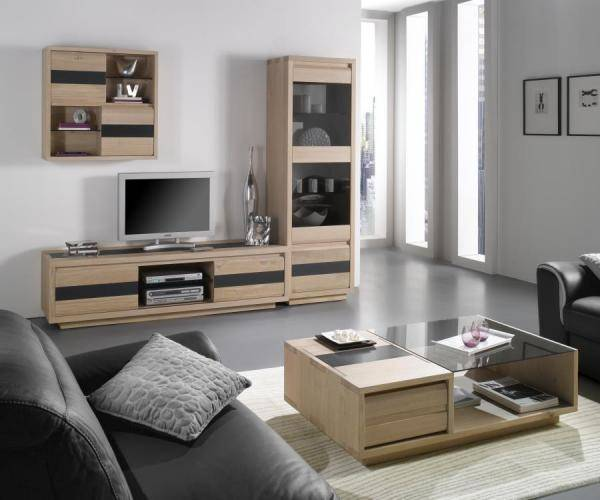 acheter un meuble contemporain en ch ne massif pour salle. Black Bedroom Furniture Sets. Home Design Ideas