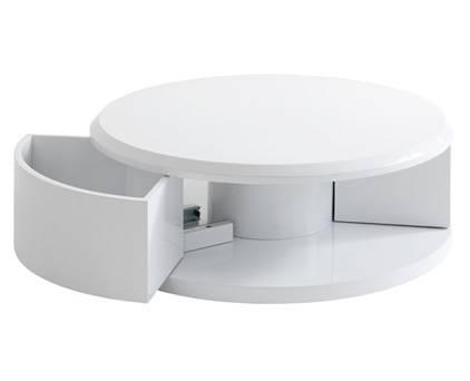 Table basse console ayley en fibres de bois blanc meuble et d coration mars - Table basse ronde avec tiroir ...