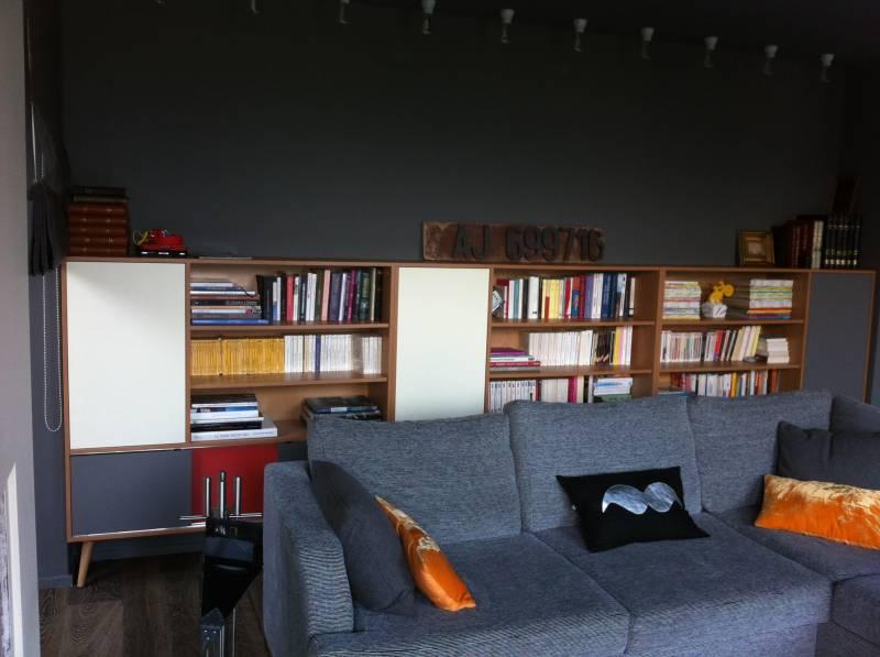 Biblioth que sur mesure en m lamin et bois massif ch ne meuble et d corati - Bibliotheque design sur mesure ...
