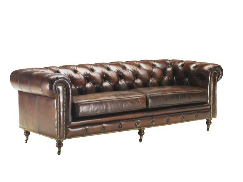 Canap vintage 3 4 places en cuir vieilli chesterfield for Ameublement style anglais