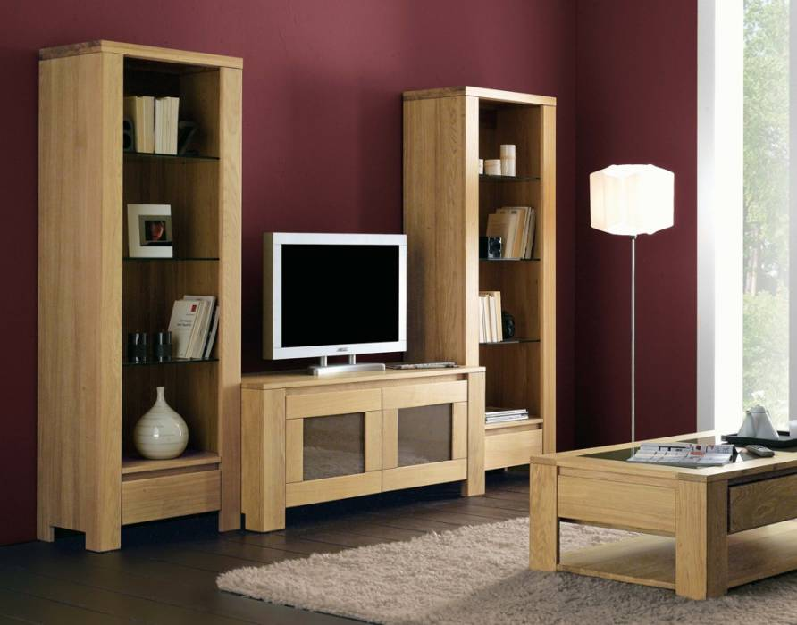 Meuble tv en ch ne massif de style contemporain meuble for Meuble chambre adulte contemporain