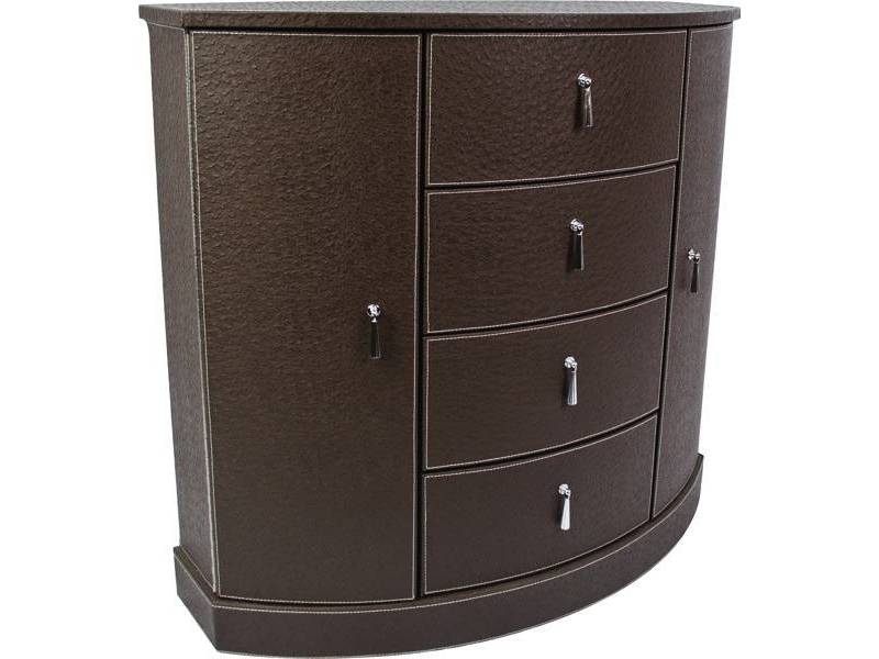 Petit meuble d 39 appoint aspect cuir en demi lune meuble - Meuble decoration design ...
