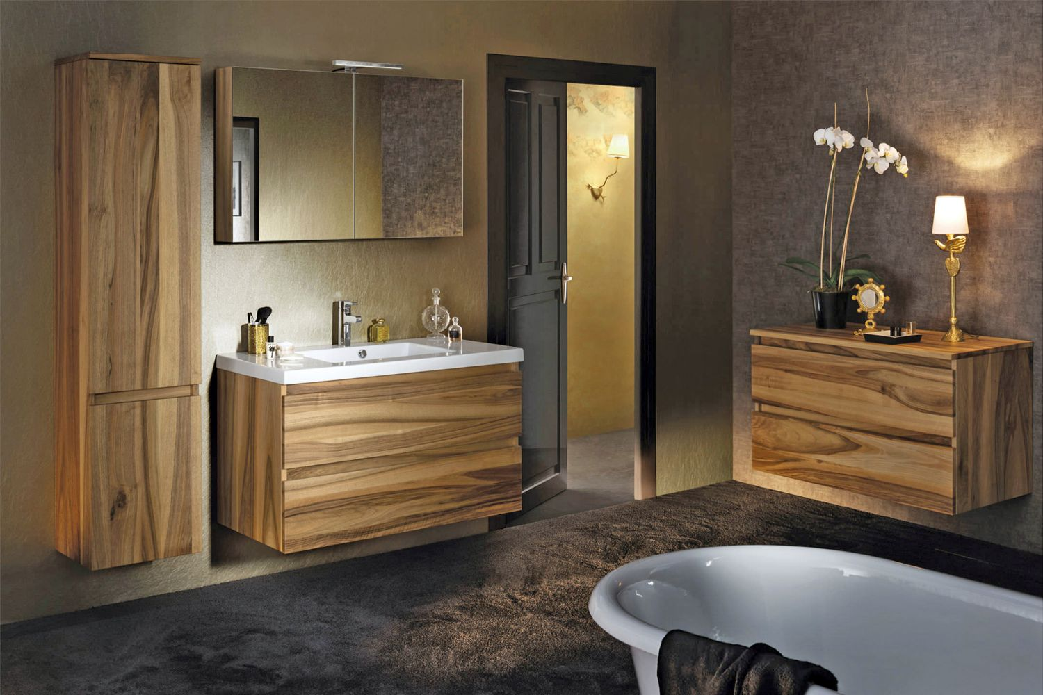 salle de bain moderne en bois tr s nature meuble et. Black Bedroom Furniture Sets. Home Design Ideas