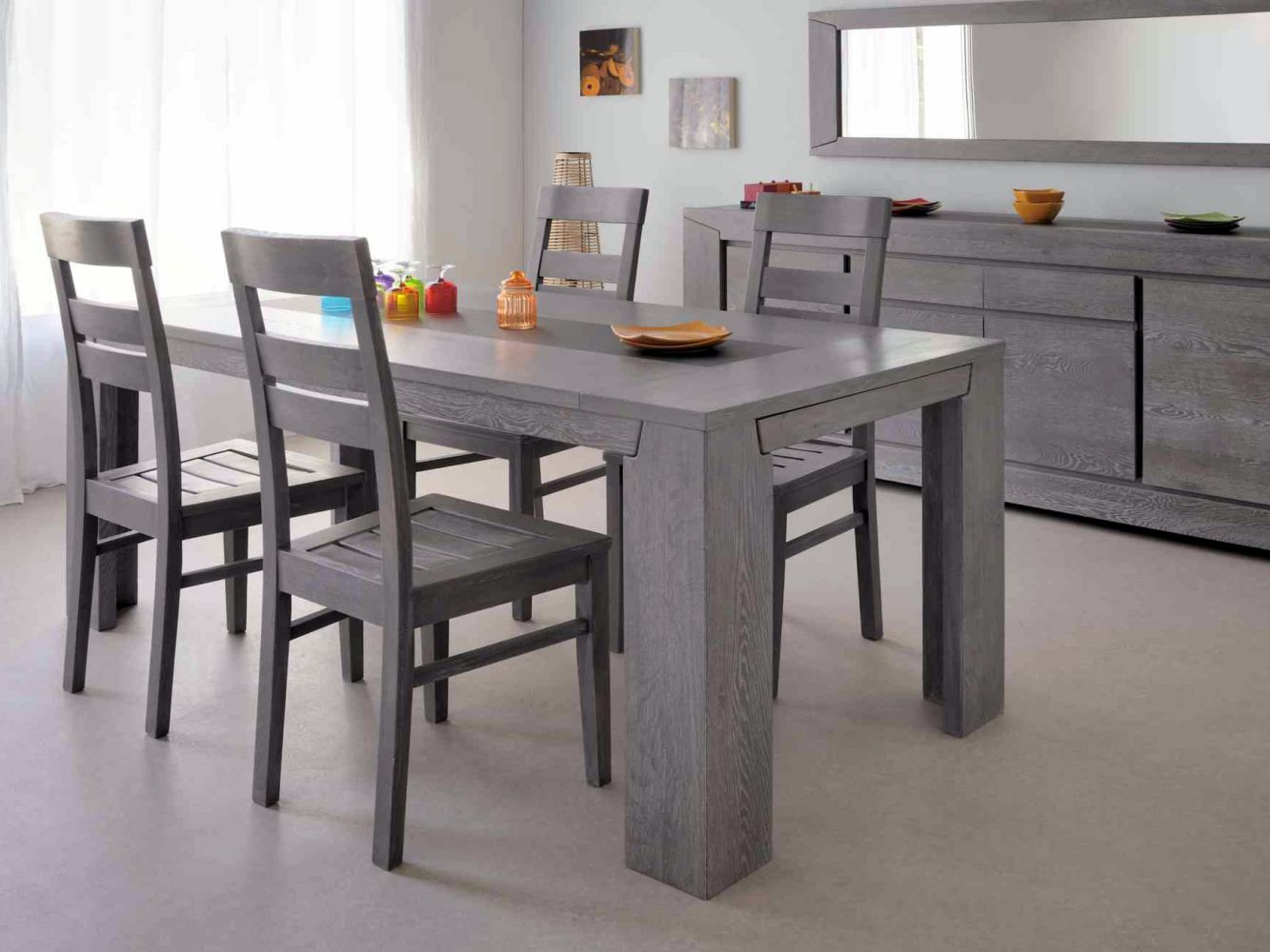 Salle a manger compl te conforama table carr e meuble et for Table salle a manger design conforama