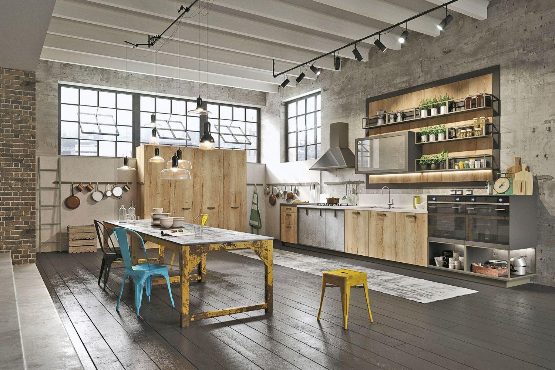 cuisine style design industriel id al pour loft ou grande. Black Bedroom Furniture Sets. Home Design Ideas