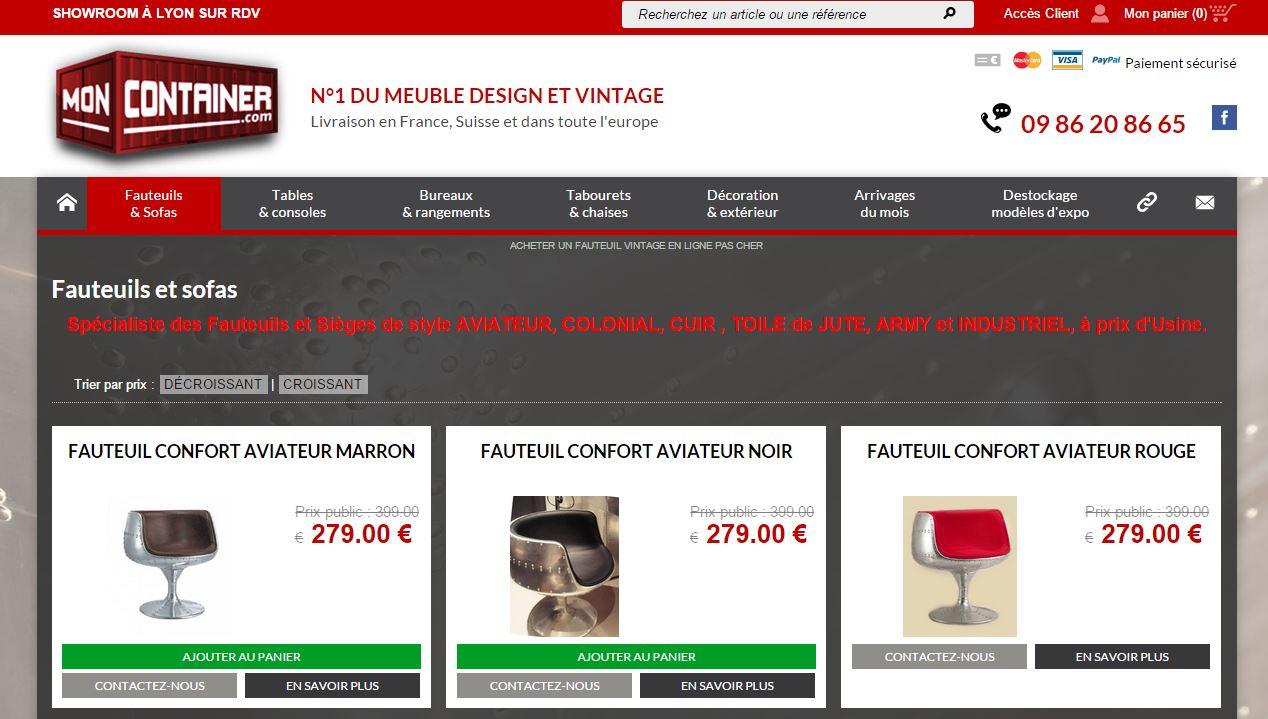 Vente en ligne de mobilier fauteuil et sofa design vintage meuble et d cor - Meubles vente en ligne ...