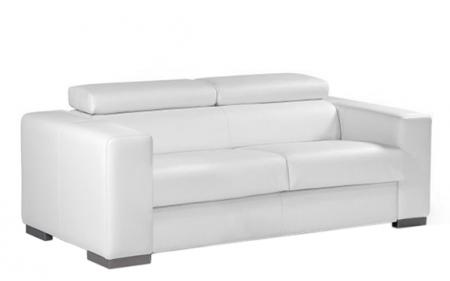 Canap convertible en cuir blanc torino for Monsieur meuble canape cuir blanc
