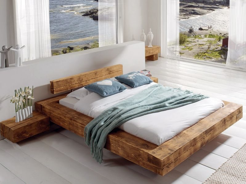 Lit adulte en bois massif pin cir poutre cocktail scandinave meuble et d c - Lit une place adulte ...